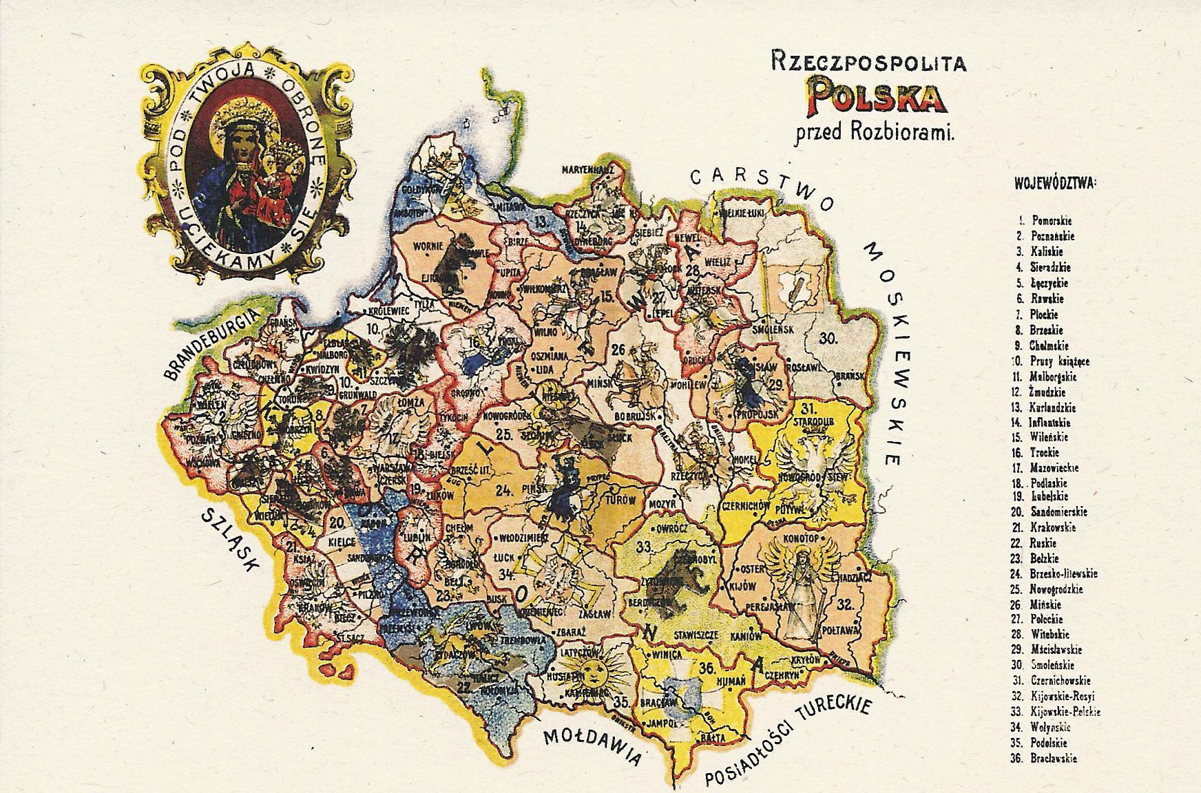 Pocztowka Mapa Rzeczpospolita Polska Przed Rozbiorem